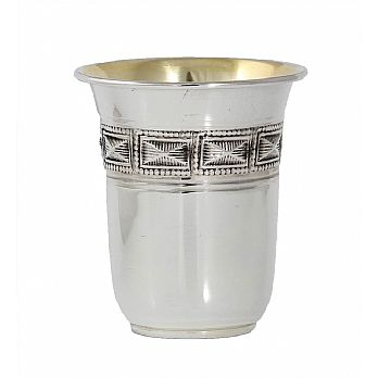 Sterling Silver .925 Kiddush Cup with Choshen Square Design