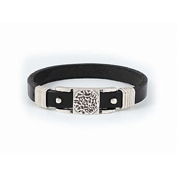 Pewter and Leather Judaic Unisex Bracelet  - Shema Yisroel