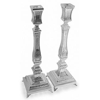 Sterling Silver Candlestick set - Square Floral