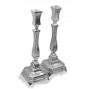 Sterling Silver Candlestick Set - Yaakov Italian 14.25''