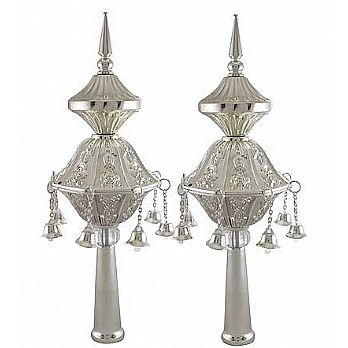 Silver Plated Torah Ornaments (Rimonim) - Chased
