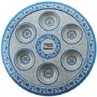 Bamboo Passover plate - Blue Ornaments