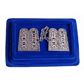 Silver Plated Tallit Clips - 10 Commandments