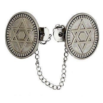 Tallit Clips with Star of David Nickel Plated