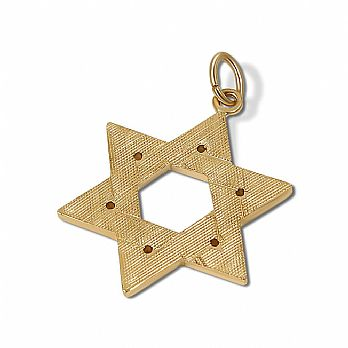 14K X-Heavy Star of David Pendant - Florentine Finish