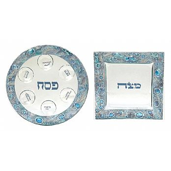 Fused Glass Seder Set - Mediterranean