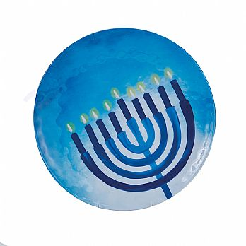 Large Round Hanukkah Serving Platter - Sapphire Collection