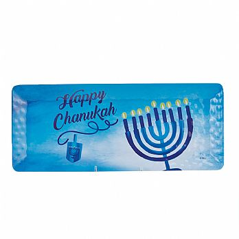 Hanukkah Rectangular Melamine Serving Tray - Sapphire Collection