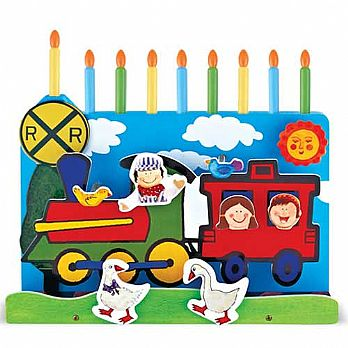 Functional Wood Menorah With Decorated Makeshift Candles- Farm Train