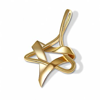 Exceptional Artistic 14K Gold Star of David Pendant