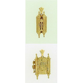 14K Gold Torah Pendant with 10 Commandments
