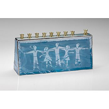 Art Glass & Metal Menorah - Israeli Dancer Menorah