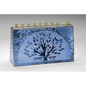 Art Glass & Metal Menorah - Tree of Life