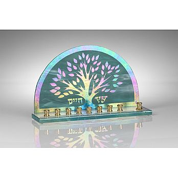 Art Glass & Metal Menorah - Tree of Life Menorah III