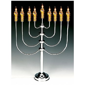 Extra Large Silver & Gold Plated Electric Menorah