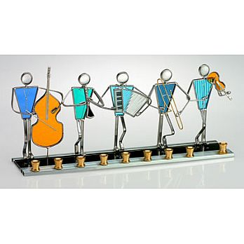 Art Glass & Metal Menorah - Klezmer Band Menorah