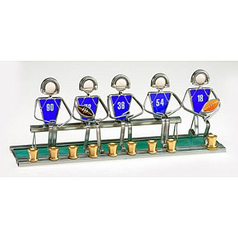 Art Glass & Metal Menorah - Soccer Menorah