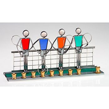 Art Glass & Metal Menorah - Tennis Menorah