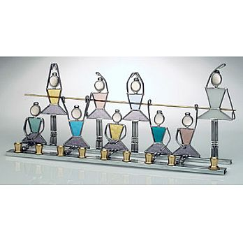 Art Glass & Metal Menorah - Ballerina Menorah