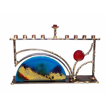 Metal and Fused Glass Horizon Menorah By Gary Rosenthal