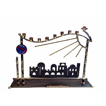 Metal and Fused Glass Menorah By Gary Rosenthal - Jerusalem