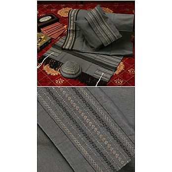 Soft Cotton Luxurious Tallit Set - Grey with Black Stripes
