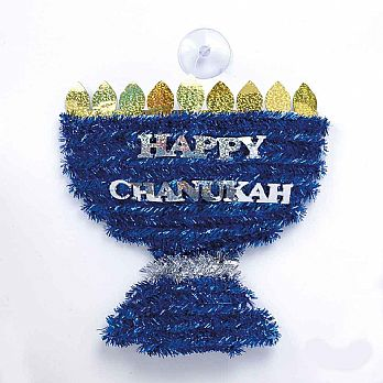 Menorah Shaped Tinsel with Foil Wall Decor