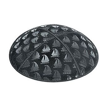 Embossed Suede Kippot - Sailboats
