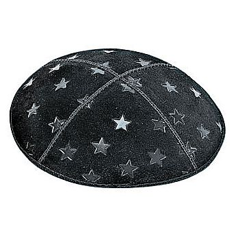 Embossed Suede Kippot - Large 5 Point Stars