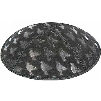 Embossed Suede Kippot - Doves