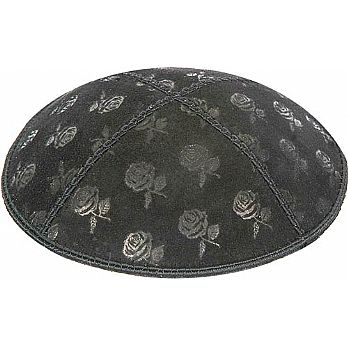 Embossed Suede Kippot - Roses