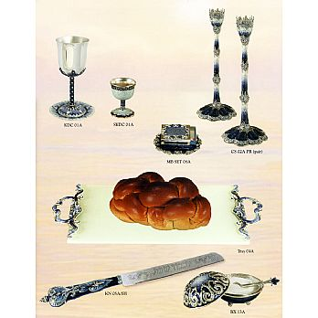 Complete Shabbat Table Setting - Blue/silver Collection
