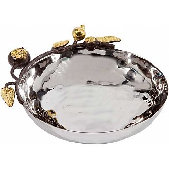 "Emanuel Hammered Serving Bowl -Candy dish 5"" with Pomegranate Branches"