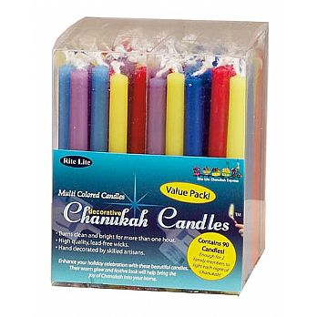Colored Hanukkah Candles - Family Pack