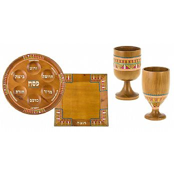 Pharonic Light Wood Seder Set