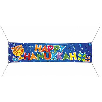 Happy Hanukkah Jumbo Vinyl Sign with Hanging Loops 72''