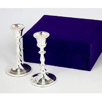Traditional Silver Plated Candlesticks - Velvet Box
