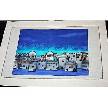 Hand Painted Challah Cover - Jerusalem in Blue