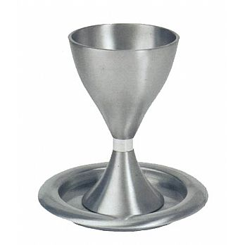 Anodized Aluminum Kiddush Cup Set - Silver