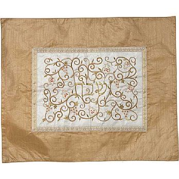 Embroidered Raw Silk Challah Cover by Emanuel - Champagne