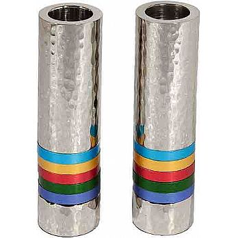 Emanuel Cylinder Shaped Hammered Candlesticks- Multicolor