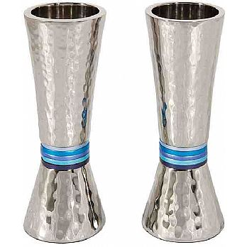 Emanuel Conical Shaped Hammered Candlesticks-- Blue Rings