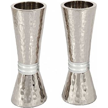 Emanuel Conical Shaped Hammered Candlesticks-- Silver Rings