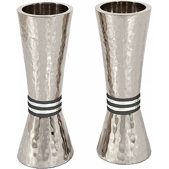 Emanuel Conical Shaped Hammered Candlesticks-- Black and White Rings