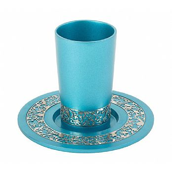 Anodized Aluminum Kiddush Cup with Gold Lace- Torquoise