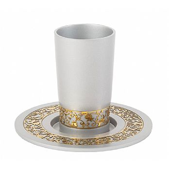 Anodized Aluminum Kiddush Cup with Gold Lace- Silver