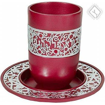 Anodized Aluminum Kiddush Cup with Silver Lace- Maroon