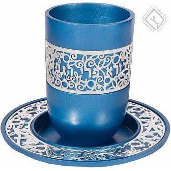 Anodized Aluminum Kiddush Cup with Silver Lace- Blue