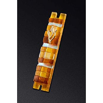 Shades of Amber -Fused Glass Mezuzah Cover