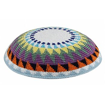 Supreme Quality DMC Knitted Kippot - Multi-Color Sun Beam